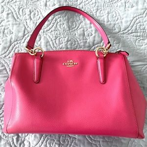 Hot Pink Genuine Pebble Leather Coach Purse